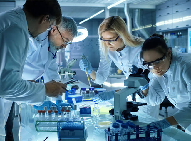 Bioscientists working